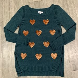 Lauren Conrad Teal Sweater with Rose Gold Hearts